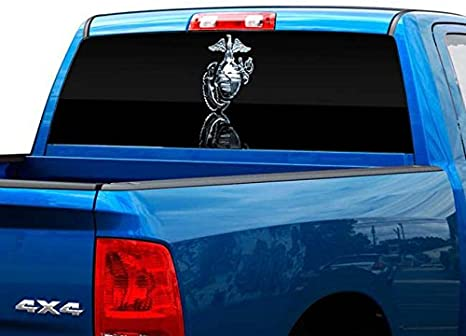 Man Pick-Up Truck Perforated Rear Window Wrap Wow Comic Style Decal