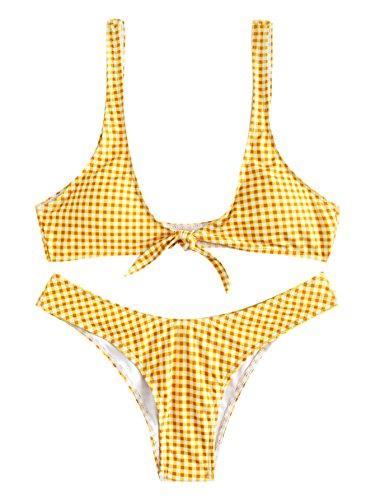 Bikini Halter Plaid (SweatyRocks Women's Sexy Bikini Swimsuit Plaid Print Tie Knot Front Thong Bottom Swimwear Set Yellow S)