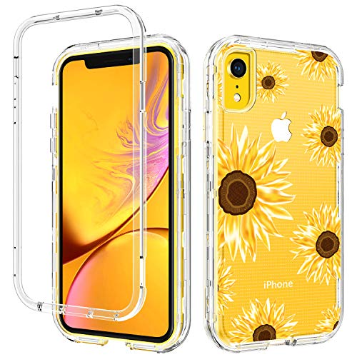 GUAGUA iPhone XR Case Sunflower Clear Floral Flowers for Girls Women 3 in 1 Hybrid Hard Plastic Soft Rubber Cover Shockproof Protective Phone Cases for iPhone XR 6.1-inch Transparent Yellow