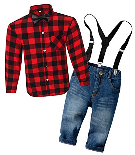 - Boys Clothes, Long Sleeves Plaid Flannel Button Down Shirt with Tie + Denim Jeans Pants Set, Tuxedo Outfit Dress Clothes for Toddler & Little Boy, SL01# Red, 7-8 Years = Tag 140