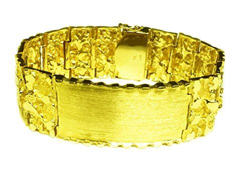 14kt Solid Yellow Gold Mens ID Nugget Bracelet 25 mm 95 grams 8