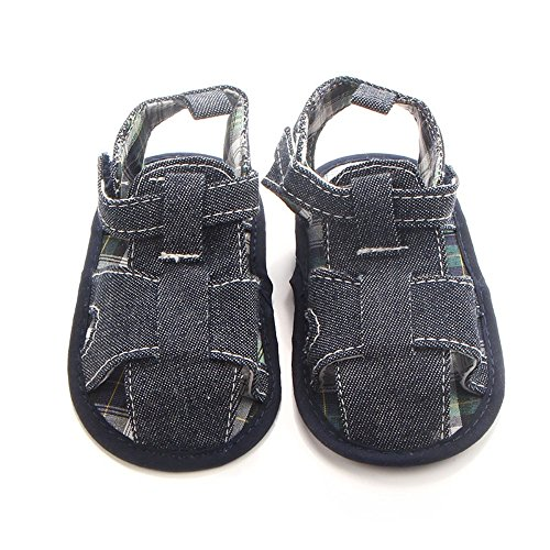 Etrack-Online Baby Sandals - Zapatos primeros pasos de Lona para niño negro