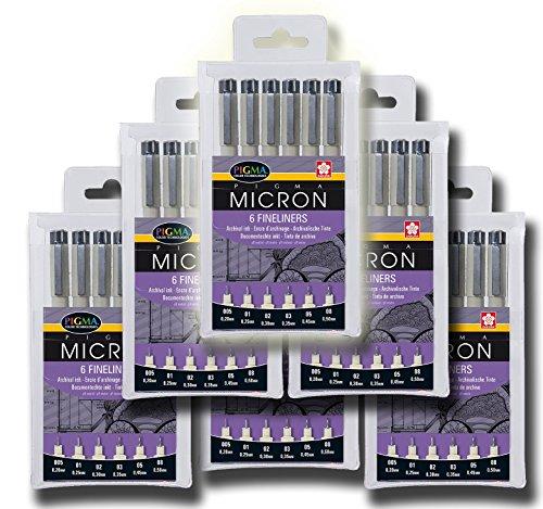 Sakura Pigma Micron 6 X Pigma Micron Fineliner 6Er Sets (Tot. 36 Pins, Black) Victualling Pack by Sakura