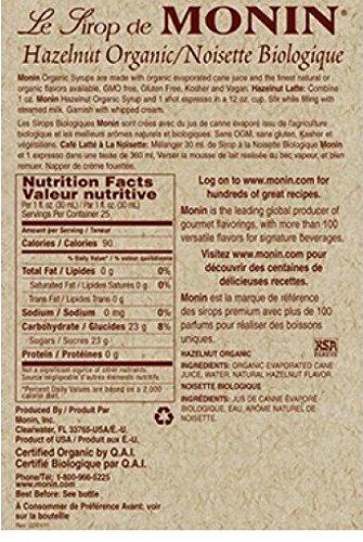 Monin Organic Hazelnut Syrup 750ml Bottle