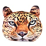 HOT SEAL Funny Throw Pillow Lifelike 3d Printed Doge Animals Head Office Cosplay Home Bed Sofa Chair Car Seat Lumbar Cushion Plush Toy Lover Gift (Leopard)