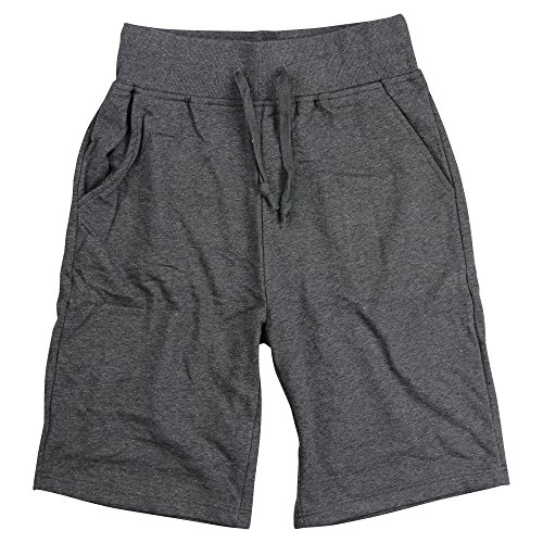 (Urban Boundaries Mens Long Elastic Waist Drawstring Casual Shorts (Charcoal, X-Large))