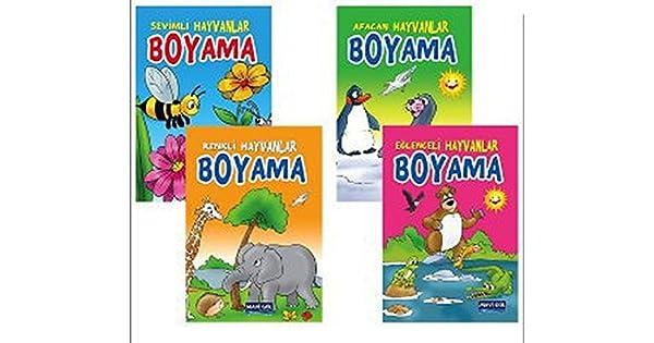 Mavi Gol Hayvanlar Boyama 4 Kitap Kolektif Amazon Com Tr
