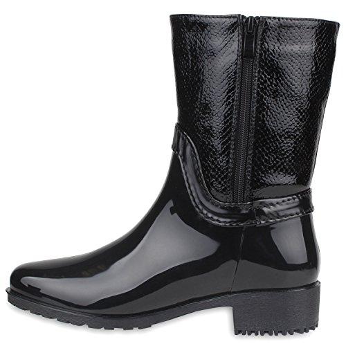 Rockige Damen Stiefeletten Gummistiefel Profilsohle Wasserdichte Boots Stiefel Gumistiefeletten Lack Damenschuhe Nieten Flandell Schwarz Fransen