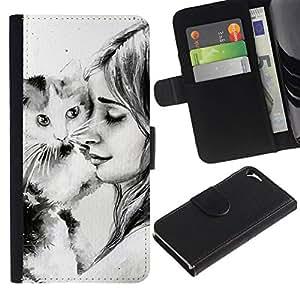 All Phone Most Case / Oferta Especial Cáscara Funda de cuero Monedero Cubierta de proteccion Caso / Wallet Case for Apple Iphone 5 / 5S // Cute Girl & Cat