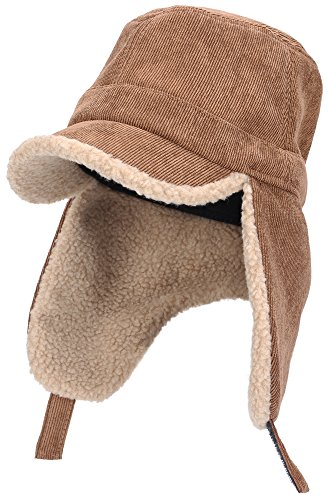 Womens Mens Winter Warm Premium Corduroy Quilted Peaked Baseball Cap with Tactical Polar Fleece Fold Earmuffs Earflap Waterproof Hat Visor Cap, Multicolor (Coffee) by EASTER BARTHE
