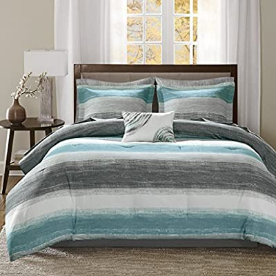 Madison Park Saben Comforter and Cotton Sheet Set - Printed Watercolor stripe motif Soft microfiber fabric - comforter-sets, bedroom-sheets-comforters, bedroom - 51FyE6bS4NL. SS400  -