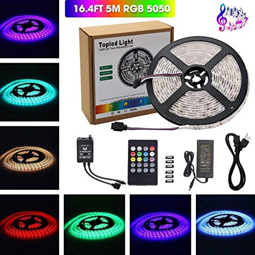 Music Led Strip Light,Topled Light® IR Music Sound Activated 5M 5050 RGB Waterproof 300LEDs RGB Flexible Color Changing LED Strip Kit with 20-key Music Sound Sense IR Controller + 12V 6A Power Supply ()