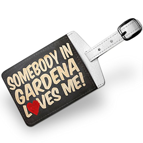 Price comparison product image Luggage Tag Somebody in Gardena Loves me,  California,  Travel ID Bag Tag - Neonb