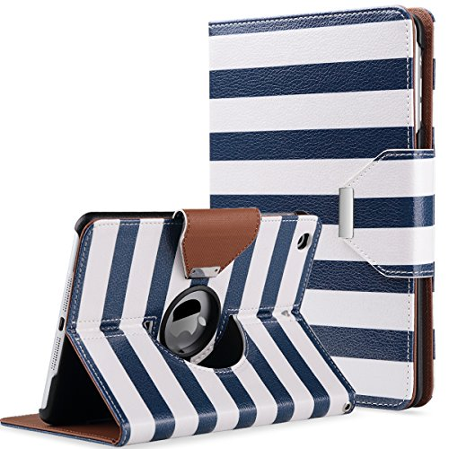 ULAK iPad Mini Case,iPad Mini 2 Case,iPad Mini 3 Case, 360 Degree Rotating Synthetic Leather Stand Case Smart Cover for Apple iPad Mini 1/2/3 with Auto Sleep/Wake Function (White/Navy Blue Stripes)