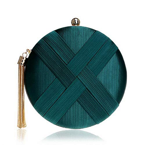 Handbags Green Bag Bags Green Circle Evening Tassel Classical Clutch with Blackish Style Lady Small Metal Shoulder Purse Ink Chain Clutch Day qtp0H0