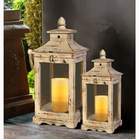 A&B Home Wooden Lanterns, 22 and 17-Inch, Set of 2 (White Wooden Lanterns Decorative)
