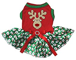 Petitebella Reindeer Face Cotton Shirt Tutu Puppy Dog Dress