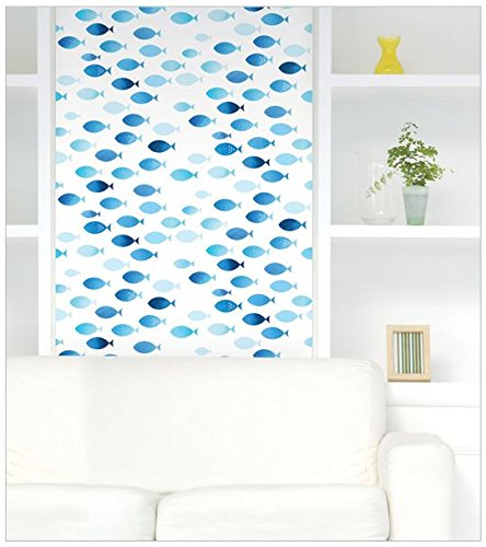Peel & Stick Blue Fish Contact Paper Self-Adhesive Wallpaper Shelf Liner Table and Door Reform DPS-86 : 1.64 feet X 8.20 feet