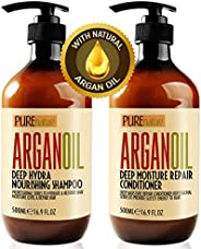 Moroccan Argan Oil Shampoo and Conditioner SLS Sulfate Free Organic Gift Set - Best for Damaged, Dry, Curly or