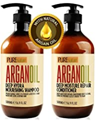 Moroccan Argan Oil Shampoo and Conditioner SLS Sulfate Free Organic Gift Set - Best for Damaged, Dry, Curly or Frizzy Hair - Thickening for Fine / Thin Hair, Safe for Color and Keratin Treated Hair