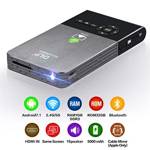 - DLP Mini Pocket Projector Android 7.1 OS Pico HDMI in Full HD 1080p WiFi Bluetooth Portable Micro Home Theater Smart Projectors,1GB+32GB