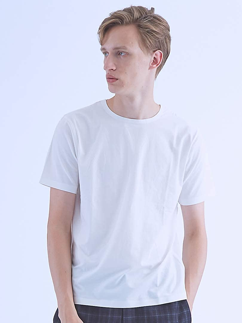 (アバハウス) ABAHOUSE トップス 【COTTON LYCRA】圧着クルーネックTシャツ メンズ B07G2HV31D 48(L)|ホワイト ホワイト 48(L)