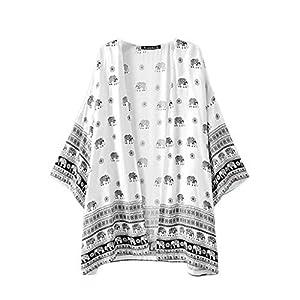 Sannysis Women Coat Elephant Printed Kimono Cardigan Tops Blouse Cover up