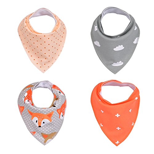 Baby Bandana Drool Bibs By MAYWAY for Drooling and Teething 4 Pack Baby Bibs With Adjustable Snaps Soft Absorbent Cotton For Boys & Girls