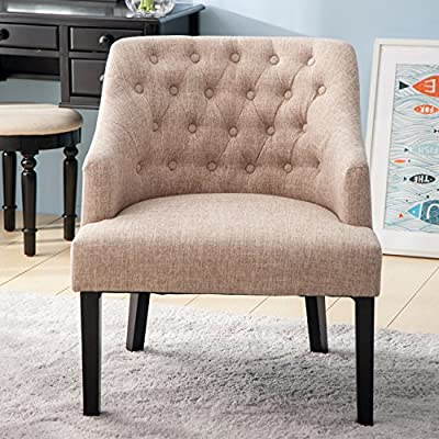 Merax WF034955AAA Contemporary Accent Button Tufted Wingback Curved Backrest Arm Chair for for Living Room, Beige - Add this contemporary-designed accent chair to your office, living room or bedroom to breathe new life into a boring space, or create an intimate conversation  The wingback sides create a sense of comfort and safety while button tufting adorns the tall back, drawing attention from the lining of nail head trim The solid wood legs feature an espresso finish, which allows durable use in your daily life - living-room-furniture, living-room, accent-chairs - 51FyFQNJ71L. SS400  -