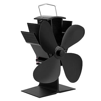 Pgige Ventilador de Estufa de Chimenea sin Ventilador de 4 Cuchillas para Quemador de Leã±a Ventilador de Estufa accionado por Calor Accesorios de Chimenea ...