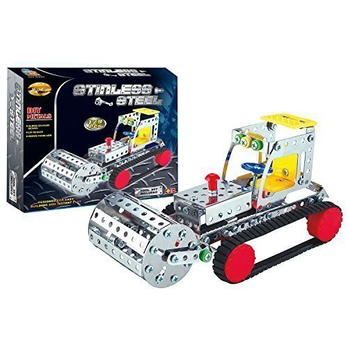 Road Roller Stainless Steel Metal Brick DIY Model Construction Set
