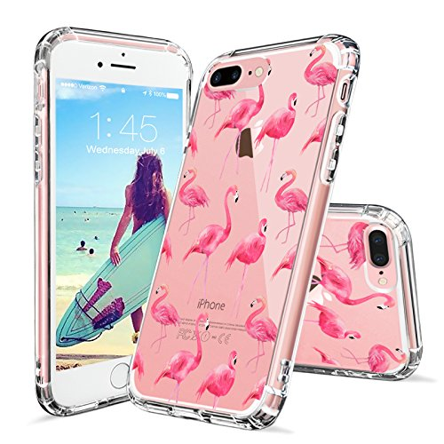 iPhone 8 Plus Case, iPhone 7 Plus Cover, MOSNOVO Cute Flamingo Tropical Clear Design Printed Plastic Back Case with TPU Bumper Protective Case Cover for iPhone 7 Plus (2016) / iPhone 8 Plus (Cute Printed)