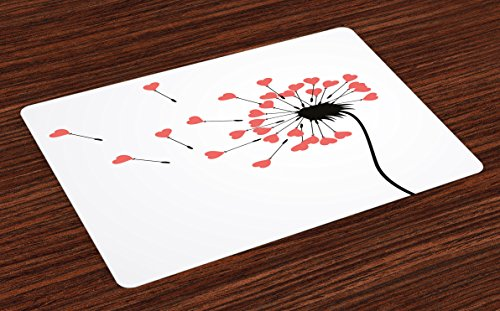 Coral Springs Places (Ambesonne Modern Place Mats Set of 4, Dandelion Petals Heart Florets Buds Romantic Spring Love Valentines Graphic, Washable Fabric Placemats for Dining Room Kitchen Table Decor, Black Dark Coral)