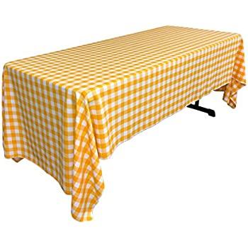 Elegant LA Linen Checkered Tablecloth, 60 By 120 Inch, Dark Yellow