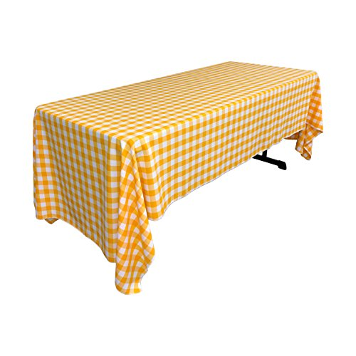 Yellow Gingham Tablecloth (LA Linen Rectangular Checkered Tablecloth, Dark Yellow and White, 60
