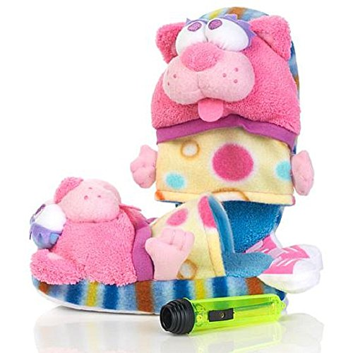 Pawggles Kids' Plush Non-Slip Soft Stuffed Furry Animal Pet Pajama Slippers (Large 4-7, Kitty Cat)