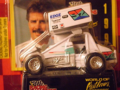 WORLD OF OUTLAWS Sprint Car Kenny Jacobs 1997 Red Checkered Flag Card 1:64 Scale die-cast Racer by Racing Champions