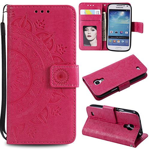 Galaxy S4 Mini Floral Wallet Case,Galaxy S4 Mini Strap Flip Case,Leecase Embossed Totem Flower Design Pu Leather Bookstyle Stand Flip Case for Samsung Galaxy S4 Mini-Red by Leecase