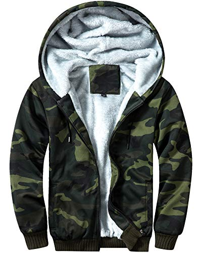 MACHLAB Men's Pullover Winter Workout Fleece Hoodie Jackets Full Zip Wool Warm Thick Coats Army Green US L(Tag XL) (Army Zip Hoodie)