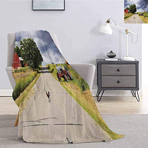 Luoiaax Rural Fuzzy Blankets King Size Farmhouse on The Country Road with Barn and Tractor on Side in Stormy Day Picture Queen Size Blanket Soft Warm W40 x L60 Inch Multicolor