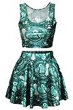 3D Green American US Dollars Printed Two Piece Short Crop Tank Tops Skirts Set