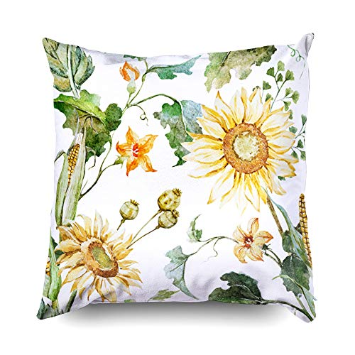 Shorping Zippered Pillow Covers Pillowcases 20X20 Inch Halloween Watercolor Autumn Pattern Sunflowers Corn Pumpkin Decorative Throw Pillow Cover,Pillow Cases Cushion Cover for Home Sofa Bedding