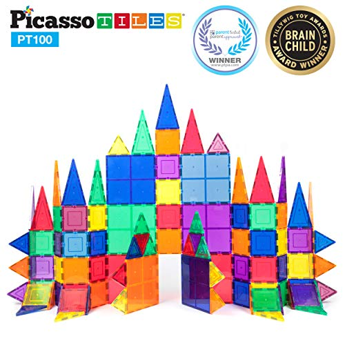 Piece Magnetic Building - PicassoTiles 100 Piece Set 100pcs Magnet Building Tiles Clear Magnetic 3D Building Blocks Construction Playboards, Creativity Beyond Imagination, Inspirational, Recreational, Educational Conventional