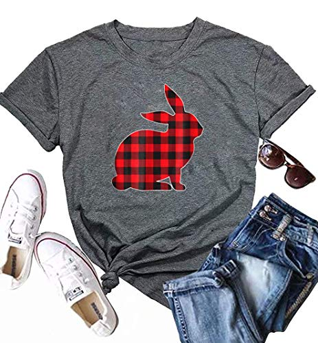 Easter Shirt Women Plaid Bunny Graphic Print T Shirt Short Sleeve Funny Tee Tops Size S ()