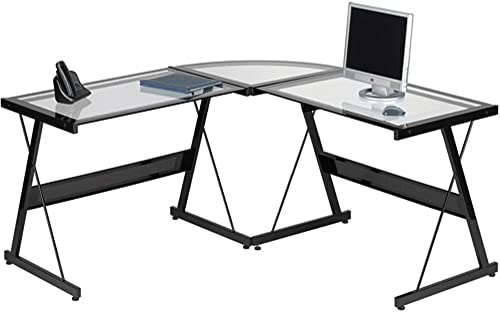 L Shaped Computer Desk Contemporary Laptop Workstation Perfect Piece Of Office Furniture 3 Piece Glass Corner Desk With Spacious Work Surface Table Ideal for Home Office Or College Dorm