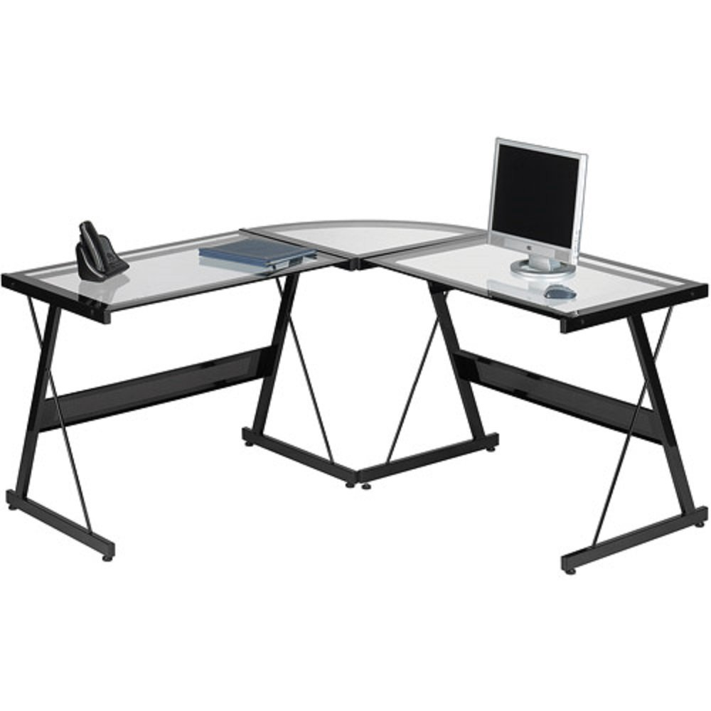 Amazon.com: L Shaped Computer Desk Contemporary Laptop Workstation Perfect  Piece Of Office Furniture Satisfaction Guaranteed 3 Piece Glass Corner Desk  With ...