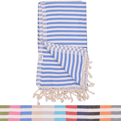 (Royal Blue Striped Turkish Towel - Naturally Dyed 100% Cotton - 70x39 inches - Beach Towel Bath Pool Yoga Pilates Picnic Blanket Scarf Peshtemal Hammam Fouta)