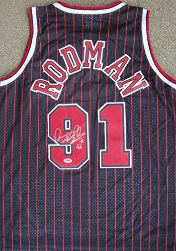 Dennis Rodman Autographed Signed Black Chicago Bulls Jersey PSA/DNA