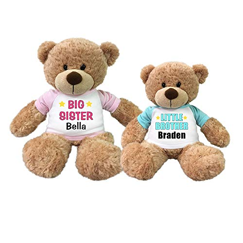Personalized Big Sister and Little Brother Teddy Bears - Set of 2 Bonny Bears (Bear Teddy Brother Little)