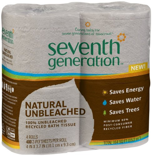 Seventh Generation 2 Ply Unbleached Recycled Bath Tissue - 4 rolls per pack - 12 packs per case.